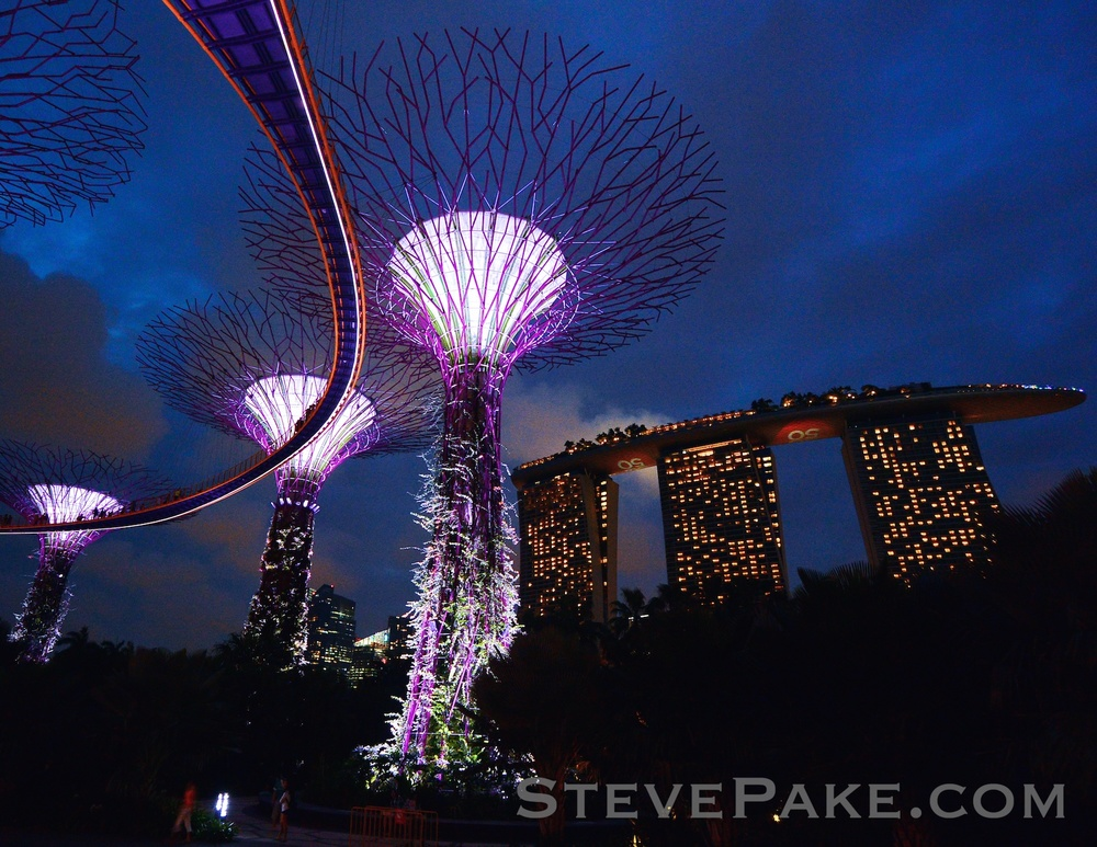 Nikon AW1 and 6.7-13mm ultra-wide lens taking in the Super Trees and Marina Bay Sands in Singapore at Twilight.