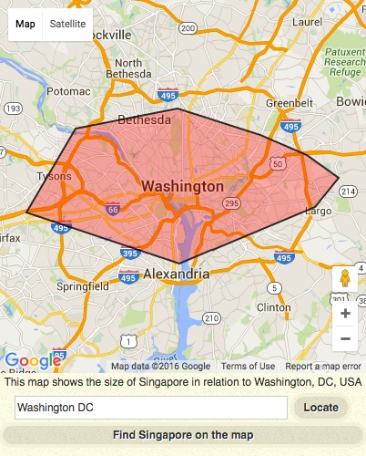 The main land area of Singapore is not even the size of the Washington, D.C. area I-495 beltway, near where I reside!