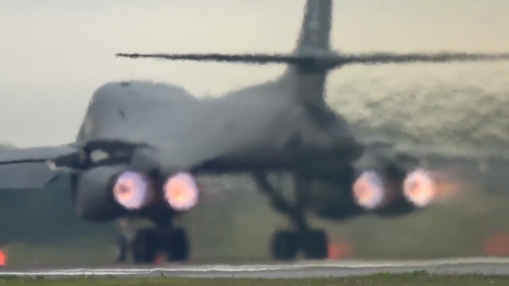 "Just get me the fuck out of 2016 already. Image Credit ""bobsurgranny"" via YouTube screen grab. This is an American B-1 Lancer supersonic bomber on a full afterburner takeoff roll."