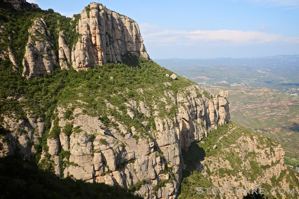 A cable car going up to Montserrat