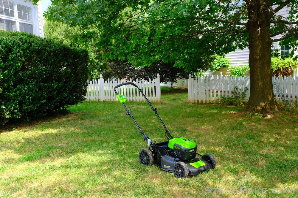 First time mowing with my new electric lawn mower. Branding has been intentionally photoshopped out. There are industry wide shenanigans going on, so the point was not to single out any one manufacturer.