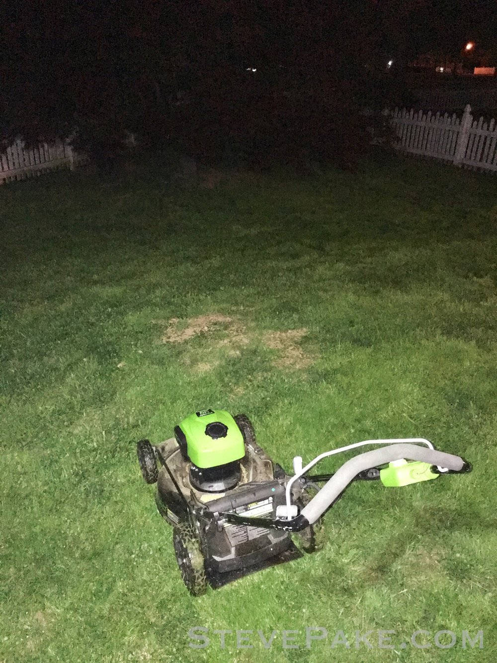 Because everybody loves waiting for a lawn mower battery to recharge and finishing mowing in the dark, right? Had no choice! Rain was coming!