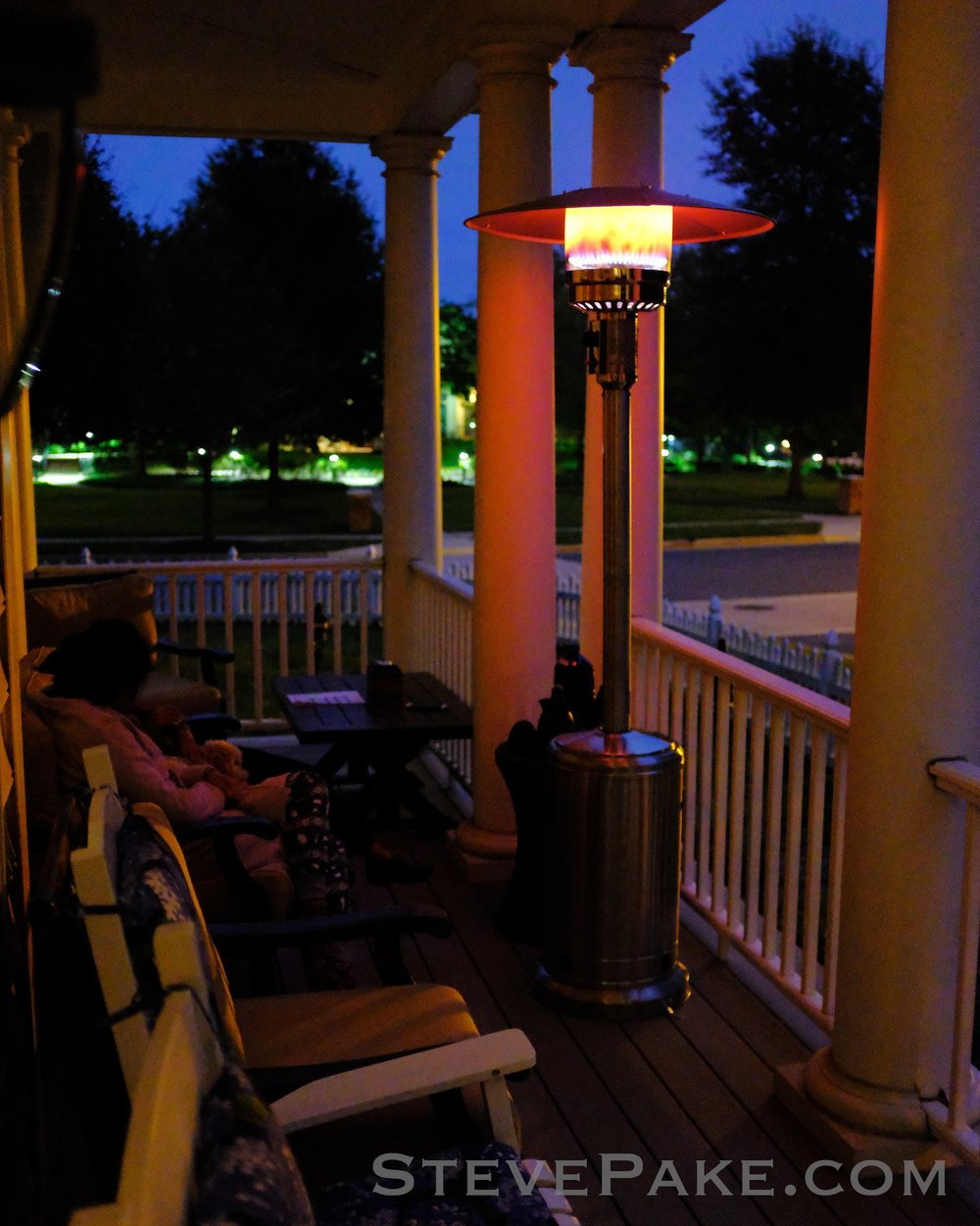 Our new propane fueled patio heater is awesome, thanks Mom and Dad!