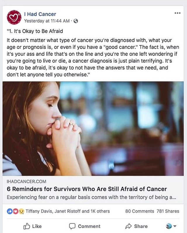 It's a pretty powerful feeling to see something that you wrote years ago still resonate so strongly with over a thousand likes and the better part of a thousand shares at @ihadcancer and the hundreds of comments through it all. It's tough to keep up, but I finally read through all the comments at least in the Facebook post and it just reminded me why I put so much effort into my writing about life after cancer. It was a great release and method of healing for me, and has helped to make such a big difference for so many others too. Awesome.❤️ . Life has had a lot of other plans for my family and I over the past few years, and has continued to evolve for me, mostly for the better I think. I just haven't had the time to do much writing, but there's more to be written about in my own cancer journey, and I hope to get a final round of NEW cancer blogs published sometime this year that will serve mostly as an epilogue to the whole young adult cancer experience. Just wanted to say thanks for all of your readership and for continuing to follow. 🙌🙌🙏 . #cancer #cancersurvivor #cancersurvivorproblems #testicularcancer #youngadultcancer #youngadultcancersurvivor #cancerawareness #cancerknowledge #yacancerbysteve #mentalhealth #mentalhealthawareness #cancersucks #fuckcancer #ihadcancer #ihcfamily #blogger #cancerblogger #cancerbloggers