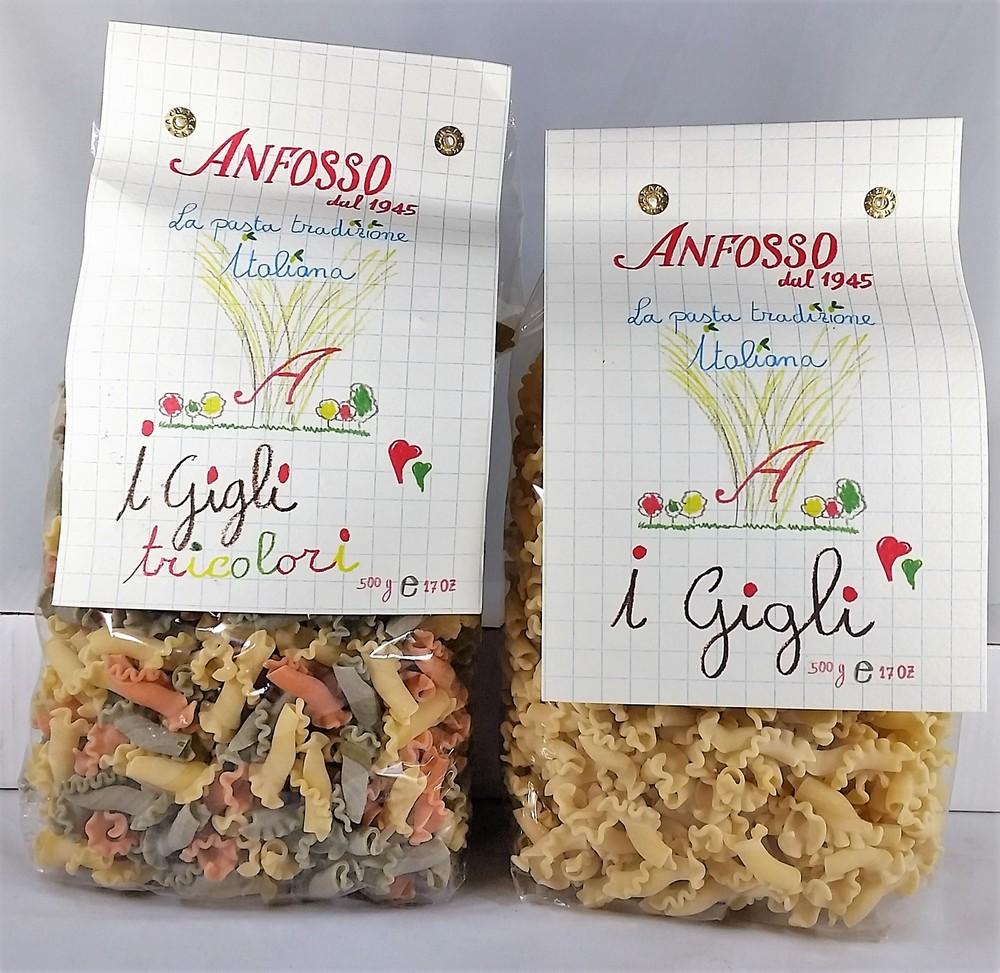 Gigli pasta tricolor and Gigli pasta