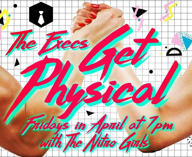 #workitout with @theexecscomedy every Friday in April at 7pm. No pain, no gain at the @magnettheater with @thenitrogirls.