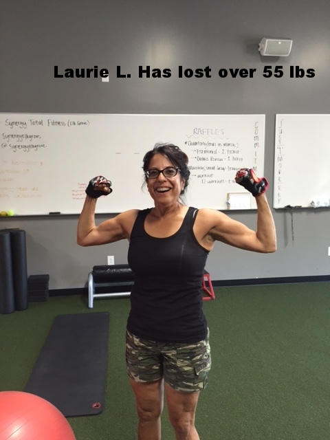 Laurie L.  Has lost over 55 lbs training for just 6 months with her Synergy Coach!