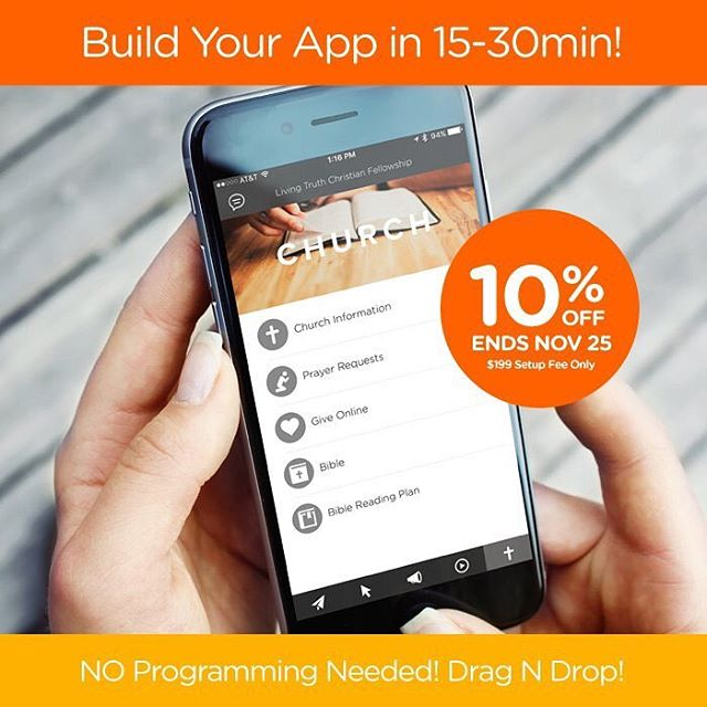 SALE! Get your own custom church app built with 10%off & $199 setup fee. SALE Ends NOV 25 at MIDNIGHT! #churchapps #customchurchapps #churchappsuite