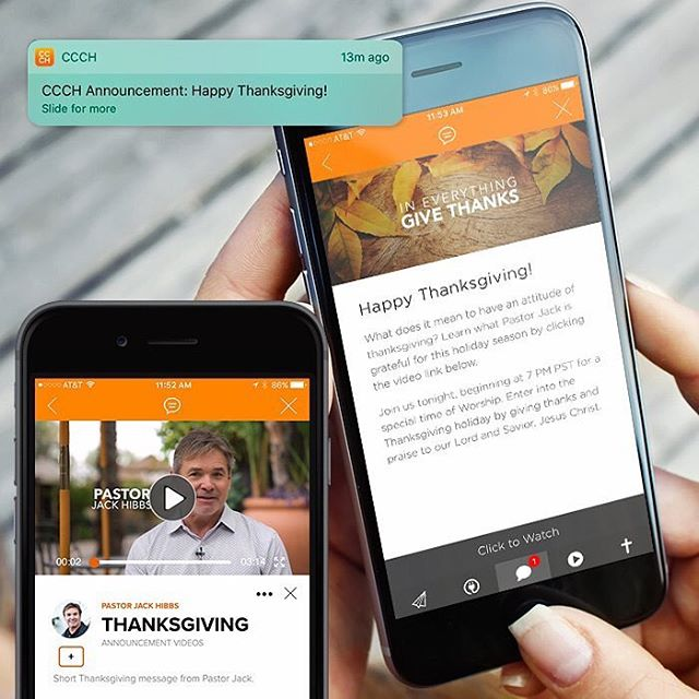 How one church delivered a special Thanksgiving announcement to their church from their custom church app. Read Here www.churchappsuite.com/blog/ #churchappsuite #reconsider #churchapps #customchurchapps