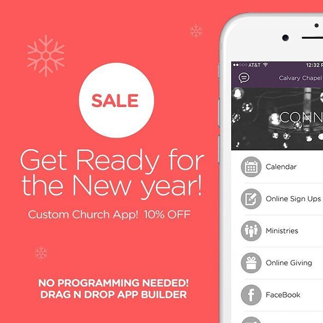 SALE! 10% OFF - Get your own custom church app built with 10%off & $199 setup fee. SALE Ends JAN 1 at MIDNIGHT! #churchapps #customchurchapp #reconsider #churchappbuilder
