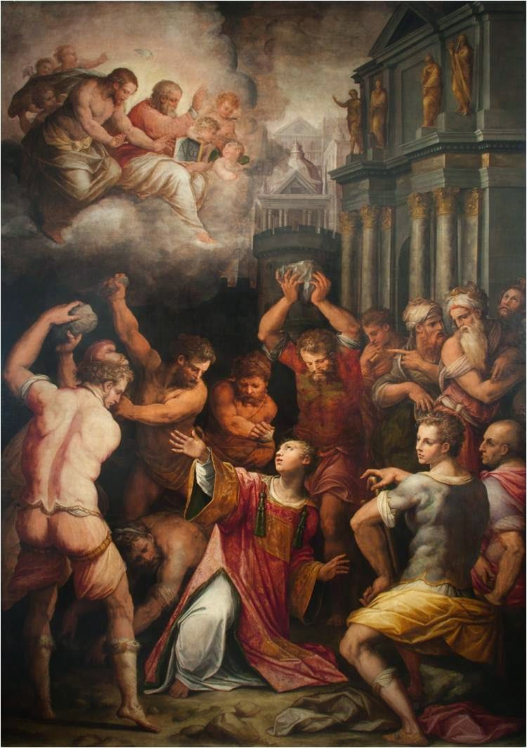 The Stoning of St Stephen by Giorgio Vasari Pisa, Italy / 1573    Feast Day is December 26 Patron Saint of Deacons, Altar Servers, Bricklayers, Casket Makers, and Stonemasons