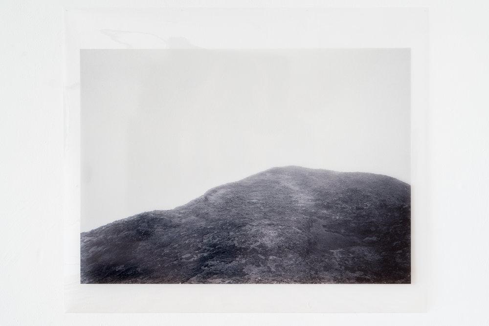 Saltspring . Xan Shian. 30 x 44 in. Black &white Inkjet print on transparency. 2017.