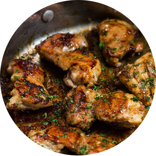 Chicken thighs  With shallots in red wine vinegar