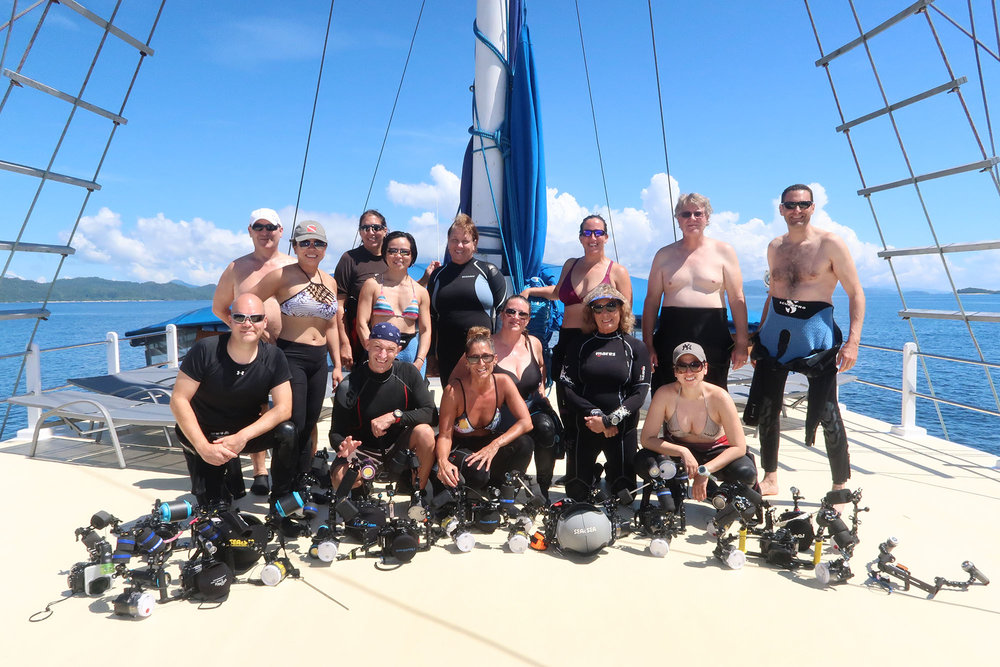 Our group gearing up for a dive on the Indo Siren with all kinds of cameras big and small!!