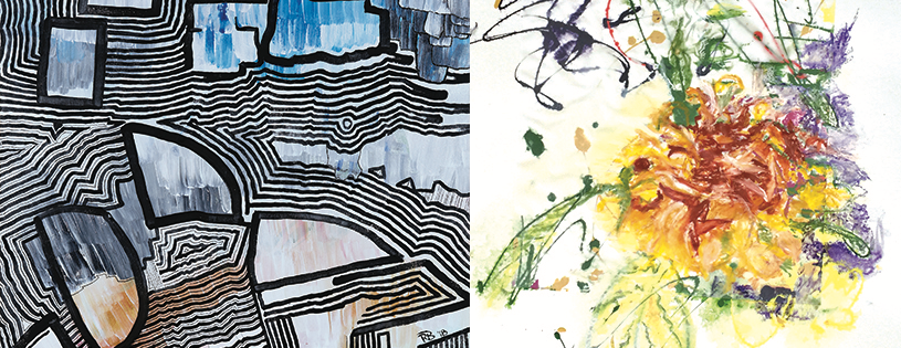 """Fun with Lines,"" (detail, Left), Robert Bienstock; ""Harbor Cornucopia,"" (detail, Right), Amy Browning."