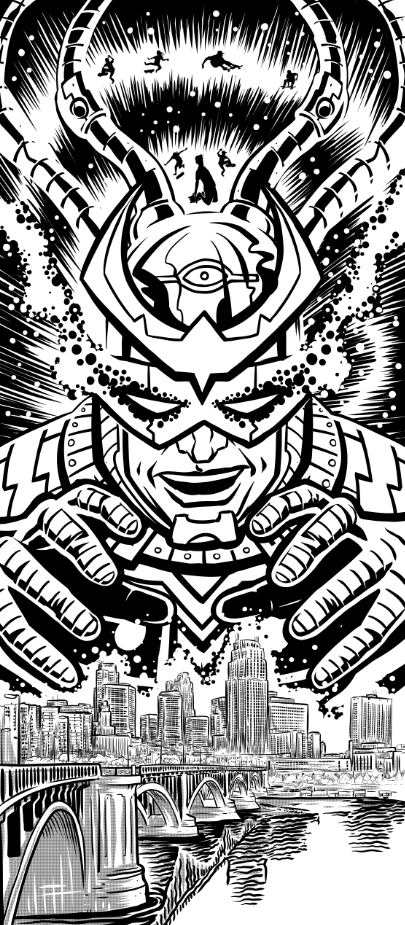 The black and white line art finished. I inked this digitally.