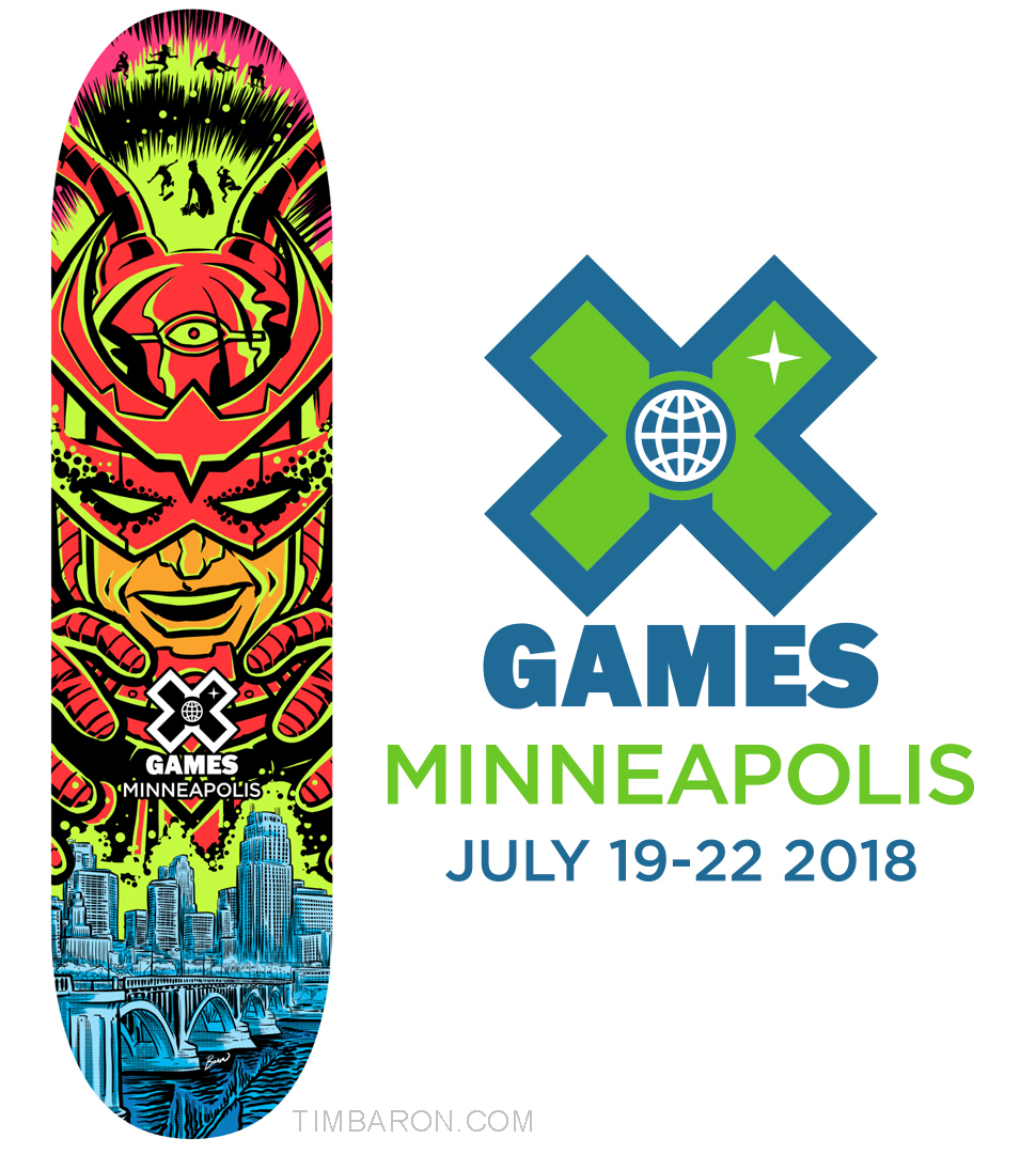 "My final submission for the ""Design a Skate Deck for the 2018 X Games Contest."""