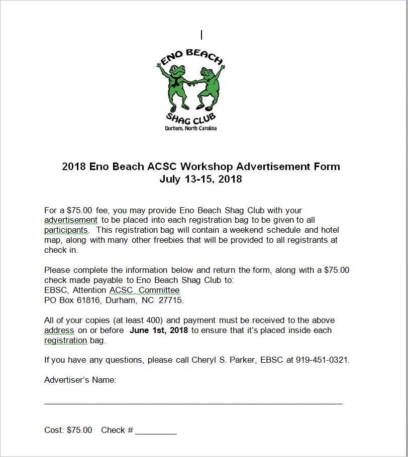 2018 Summer Workshop Eno Beach Shag Club