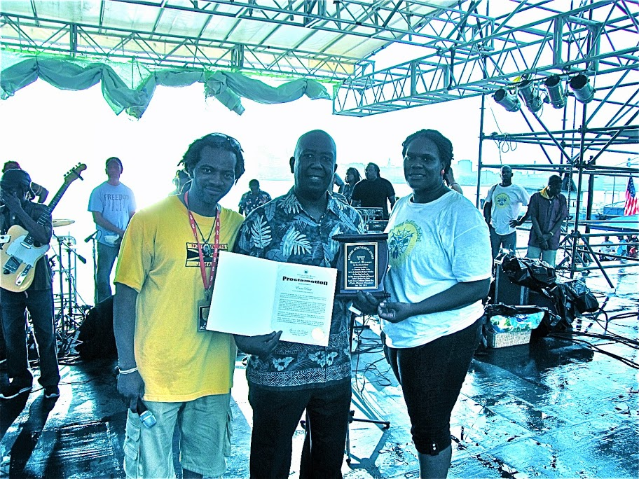South Jersey Caribbean Cultural Organizati  on presents Author Ewart Rouse with cricket award and proclamati  on from the Mayor of Camden, NJ