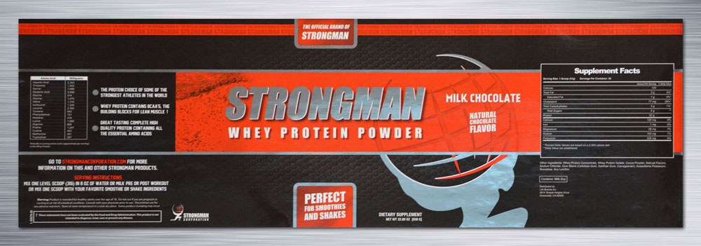 The Strongman Whey Protein Powder label was created using HD Flexo printing, four-color process, silver cold foil, and approximately 30,000 ft. of material (60,000 labels).