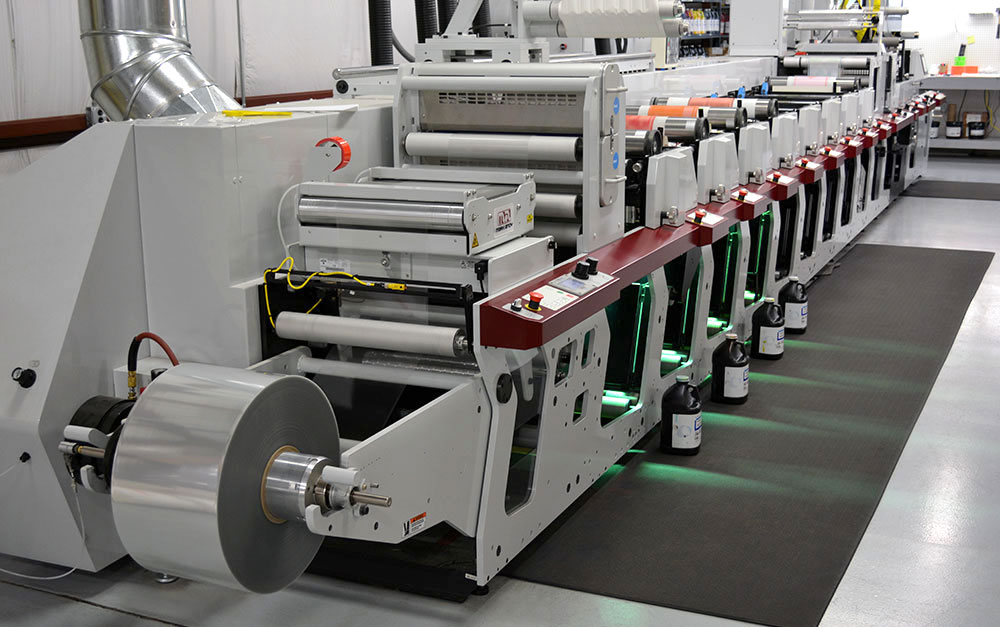 Century Label's Mark Andy P5 HD flexo press is able to accommodate up to 8 color stations and a 175 line screen, allowing for rich digital quality printing.