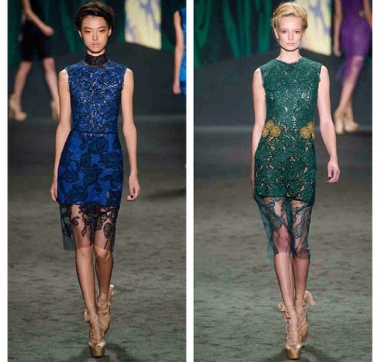 **Pictured are the two Vera Wang dresses Ashley hand sewed flowers onto the mesh overlay for the SS '13 show at Mercedes Benz Fashion Week.