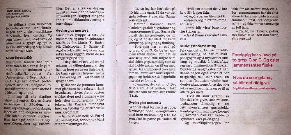 Lever for musikk :) (fra Bergens Tidene 5. Februar)