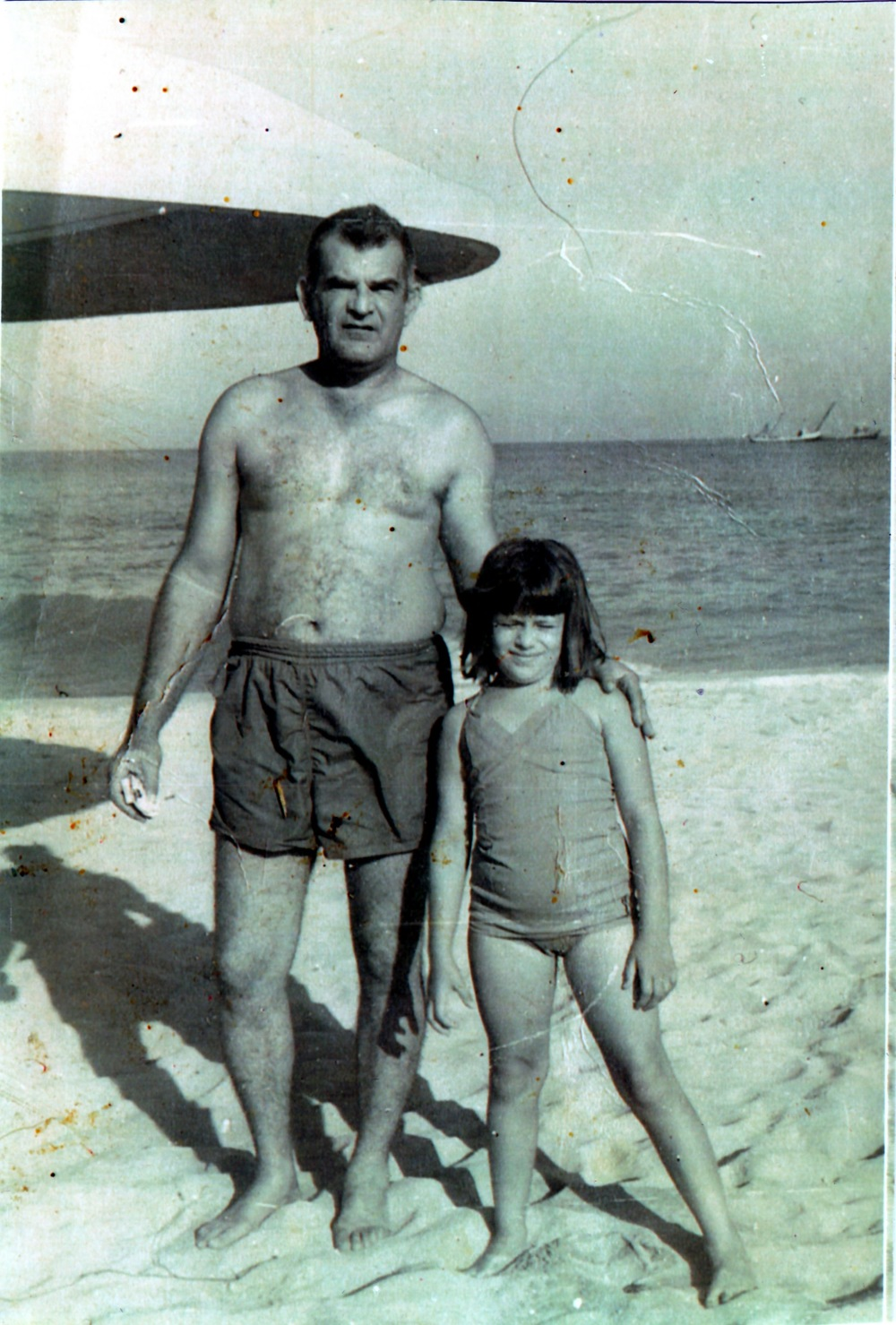 My mother and her father in 1970 during their last trip to the beach in Havana. It was the last time that they went to the beach in Cuba.