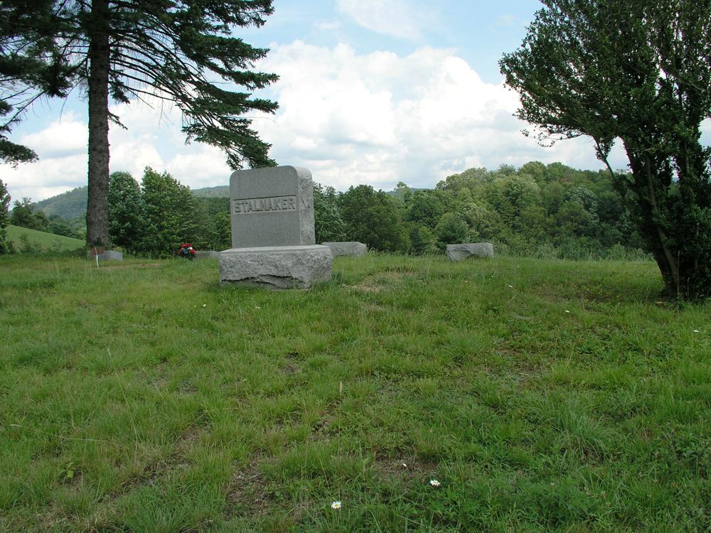 Stalnaker cemetery is located about a mile south of Elkins, east of five lane highway in woods just north of St. Brendan Catholic Cemetery. There are 8 upright headstones. Photographed by Nancy Stalnaker Bundy July 2003.