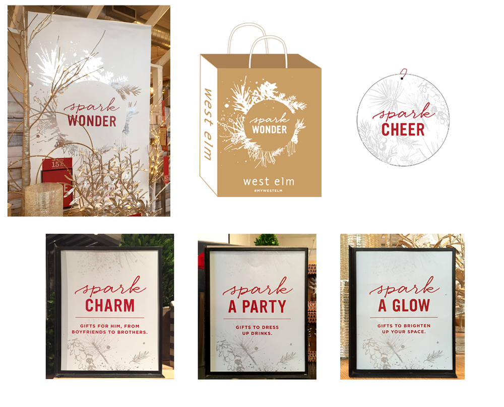 WEST ELM 2015 HOLIDAY CAMPAIGN BANNER, SHOPPING BAG, GIFT TAG 8 X 10 SIGNAGE