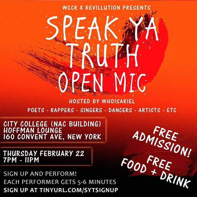 We keeping the good energy going!! I'm hosting an Open Mic this Thursday night in Harlem 🙌🏽🔥 Everybody is Welcome! I want anybody who has a talent, something they want to show, or even just something they wanna get off they chest to come thru and share it at this open mic! ✨#SpeakYaTruth🎤 I'm having this event to give y'all the platform to do ya thing and reach new people! Admission-Food-Bevs  Everything FREE 💥 Just Sign Up & Perform ! 🙌🏽 #Openmic