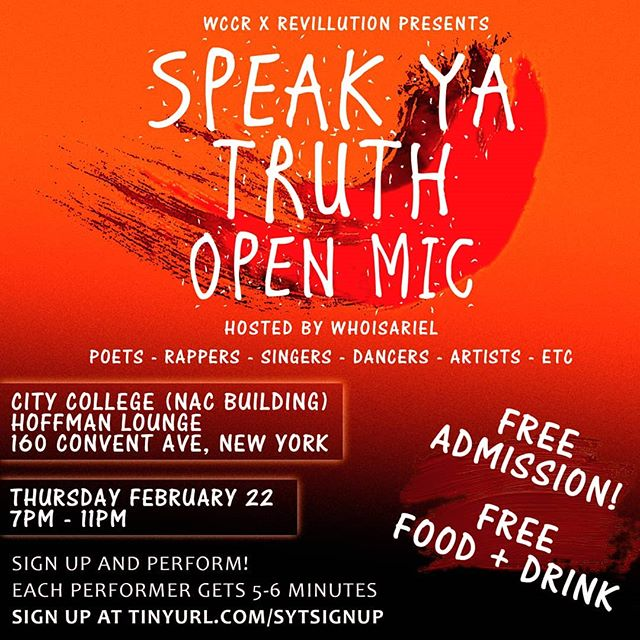 Yerrr ! Got a variety of DOPE talent confirmed for TOMORROW !! 🔥🔥 I'm hosting an Open Mic in Harlem, All Talents welcome doesn't  matter where you from 💥 It's Free Dollaz!  Just Sign Up, Come Thru and Perform !! Tell a friend to tell a friend, it's gonna be vibe! 🙌🙌 Sign Up Link In Bio #SpeakYaTruth🎤 #OpenMic