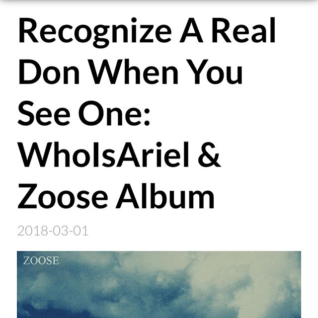 Shout out to @rapbully for showing love to #ZOOSE ☁️ ! Still bumping strong 💪🏽 Keep listening and sharing y'all, we on our way! 🙏🏽 #WhoIsAriel