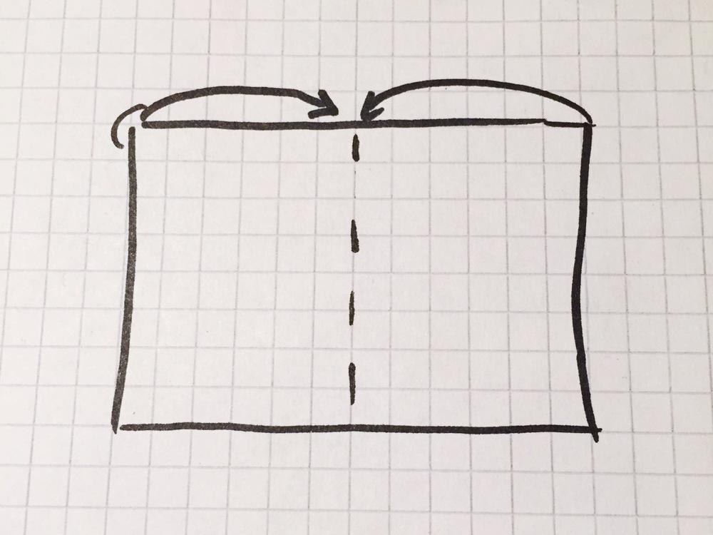 1. Stoffbahn komplett auffalten, die rechte /schöne Seite schaut nach oben. Die Mitte finden. Die rechte und dann die linke Kante zur Mitte falten (man sieht nun die linke Seite des Stoffes).