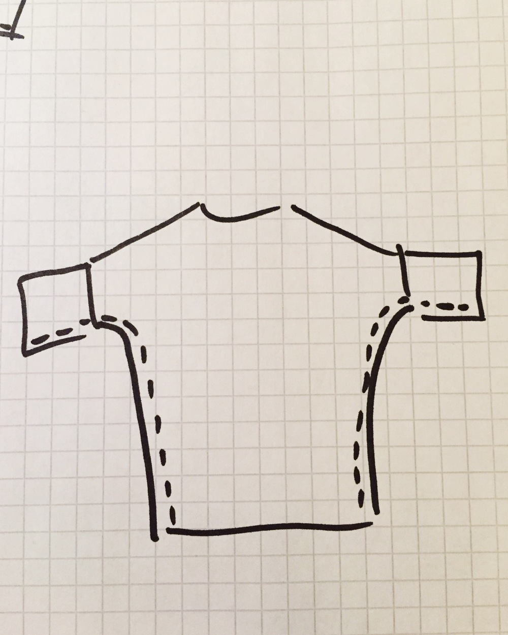 5. Alles aufklappen, rechte Seite schaut nach oben. Nun den Pulli an der Schulternaht zuklappen, so dass die Form des späteren Pullis zu sehen ist. Die innere /linke Seite sollte nun oben liegen. Vom Ärmel über die Achsel die Seitennähte zunähen.