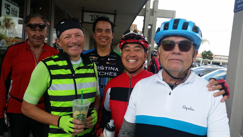 Malcomb Fox, second from left, with friends and coffee at today's rest stop.