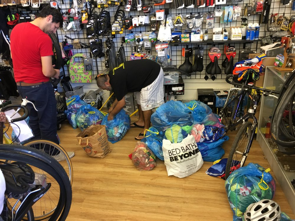 Inventory & sorting to add to the resale racks and parts bins at the Bicycle Tree