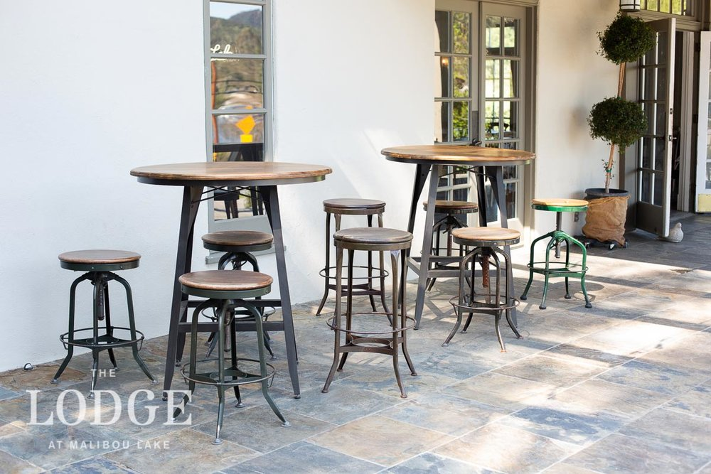 Pub Tables (2) with Industrial Stools
