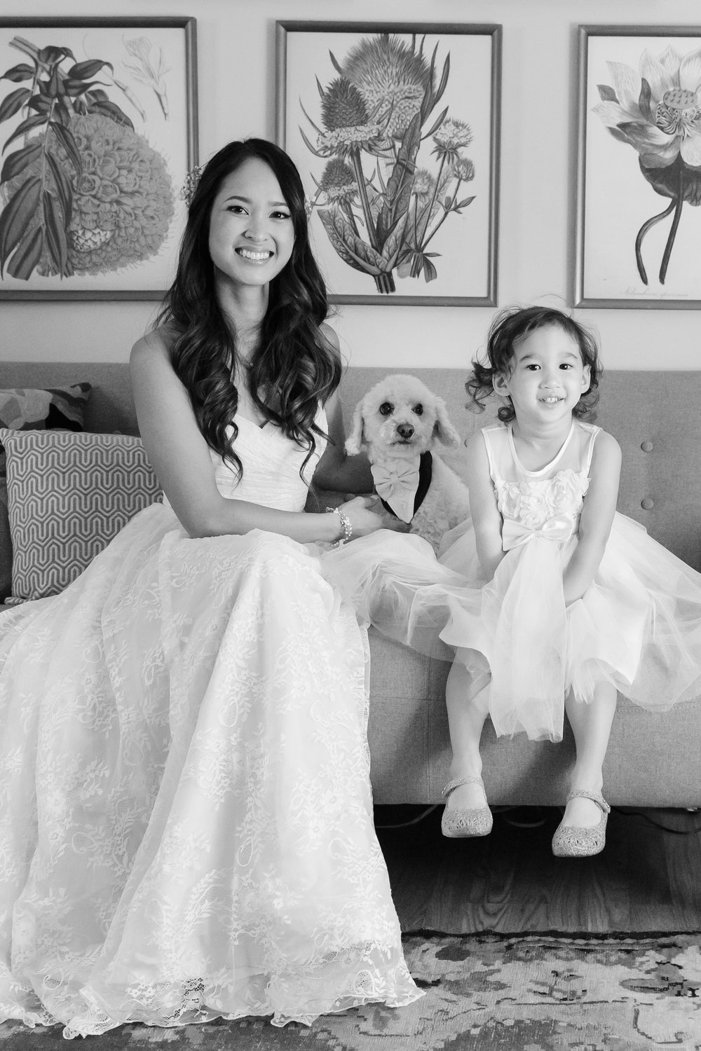 C&M bride pooch and flower girl in the pink room BW.jpg