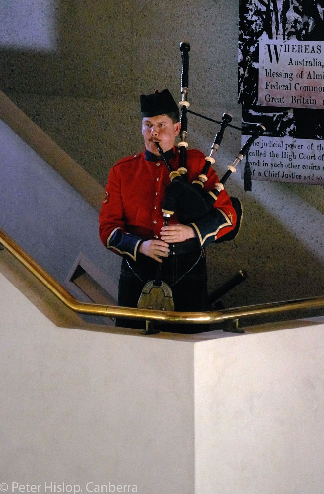 Jason Craig playing The Reel of Tulloch, performed at the battle of the Somme by a 20 year old Canadian Piper.Photo Peter Hislop