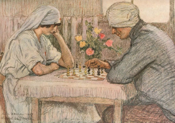 Nurse and soldier playing chess