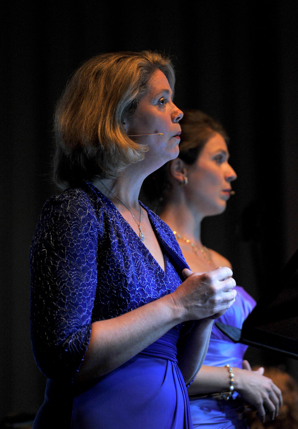 Christina Wilson mezzo-soprano and Simone Riksman, soprano sing in the Diggers Requiem pic Graham Tidy