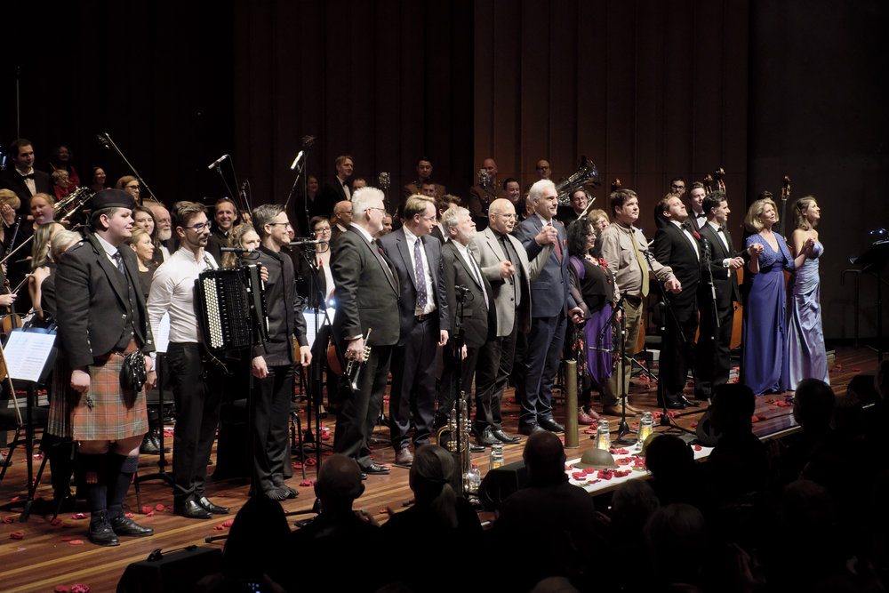 The soloists, composers and director Chris Latham take a bow at the Australian premiere of The Diggers' Requiem in Canberra 2018