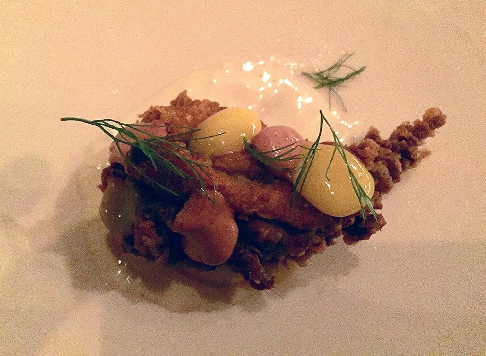 fried chicken, smoked oyster aioli, sal de gusano, egg yolk custard