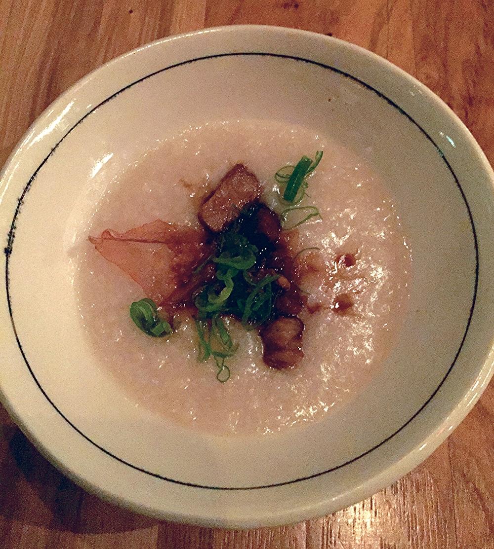 congee, pork shoulder, soy, black vinegar