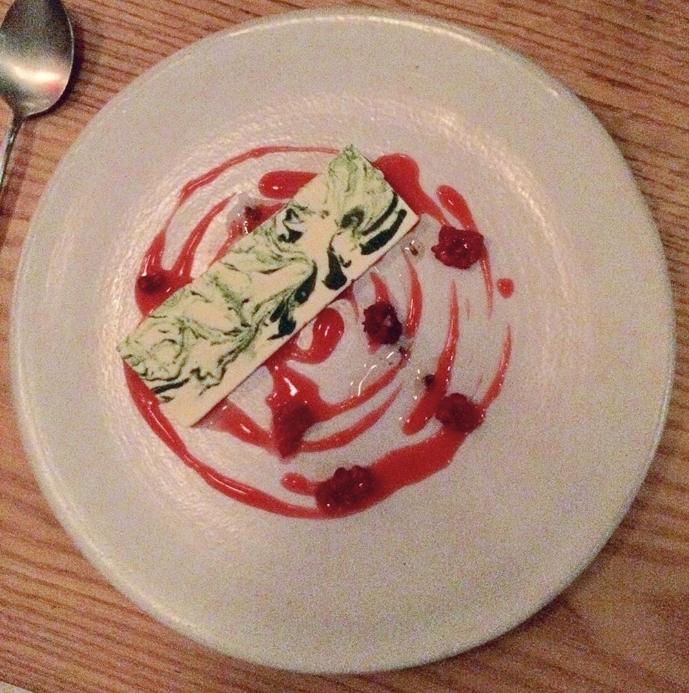 creme fraiche & anise hyssop parfait with raspberries & currants