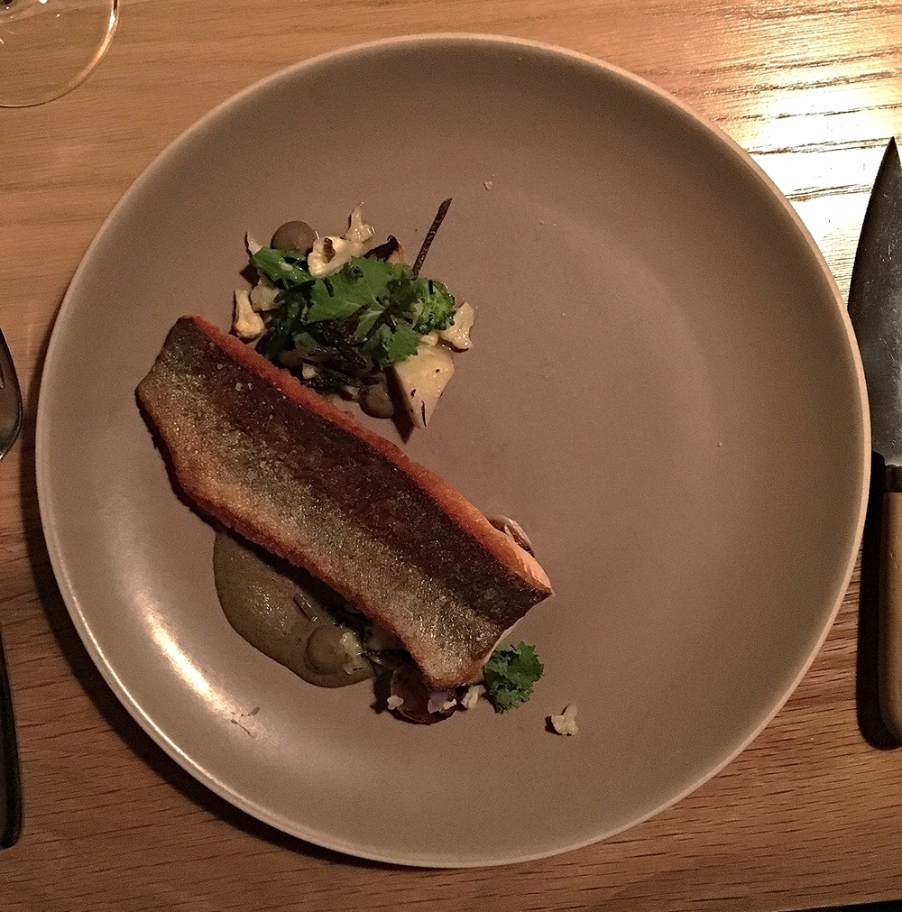 rainbow trout, brassicas, onions, black truffle