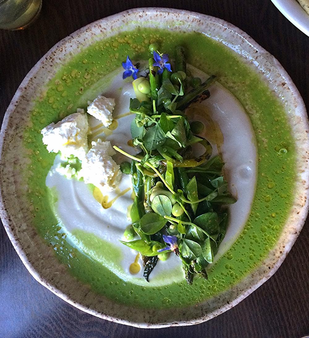 asparagus, pea shoots, labne