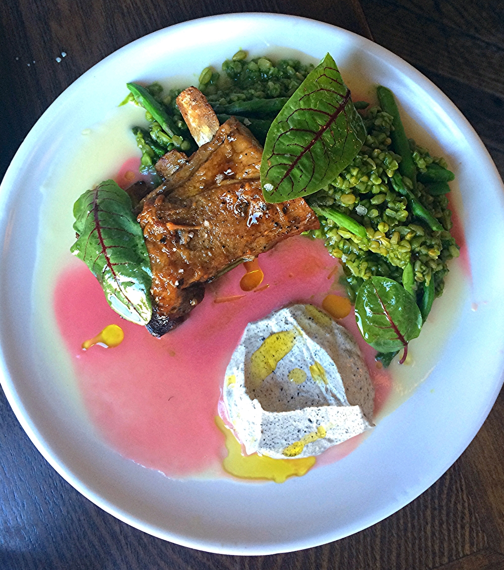 lamb rib, swiss chard, persian lemon creme fraiche