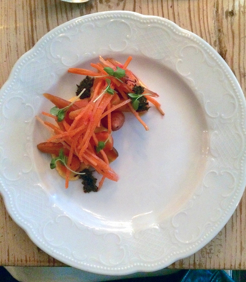 carrot yogurt, carrot claw, roasted carrot, carrot top chimichurri